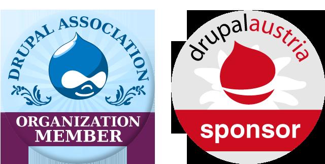 Drupal and Drupal Austria Sponsor Badge
