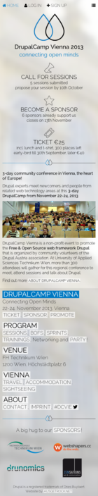 Drupalcamp Vienna 2013 - Connecting Open Minds - Screenshot Frontpage MOBILE