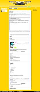 Screenshot Flying Services Website - Verwaltung