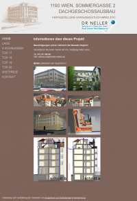 Screenshot Dachgeschossausbau Sommergasse Webseite  - Übersicht