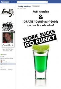 Facebook Funky Monkey Fanpage Info Screenshot