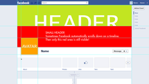 Screenshot Facebook timeline pages template for Photoshop with areas
