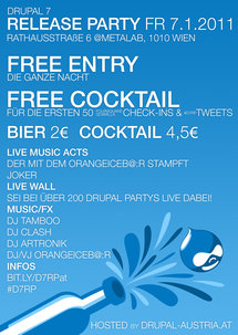 Drupal 7 Release Party Flyer