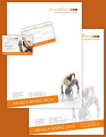 Zusammenstellung Fitness-Emotion Briefpapier und Visitenkarten