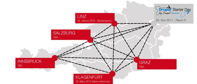 Drupal Roadshow Map