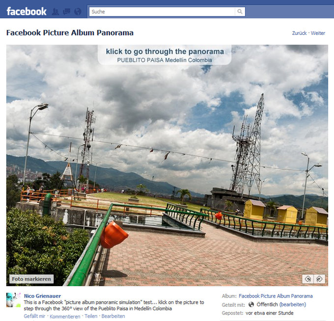 Screenshot Facebook Album Einzelbild des Panoramas