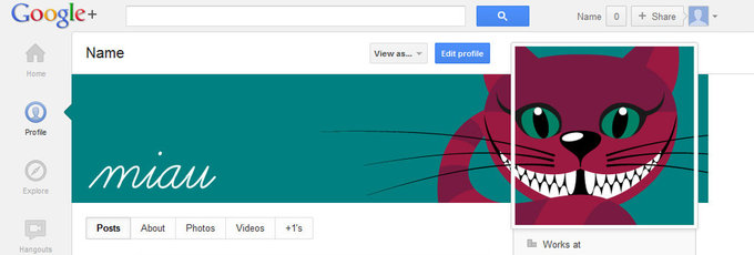 Google+ profile screenshot with a kitten