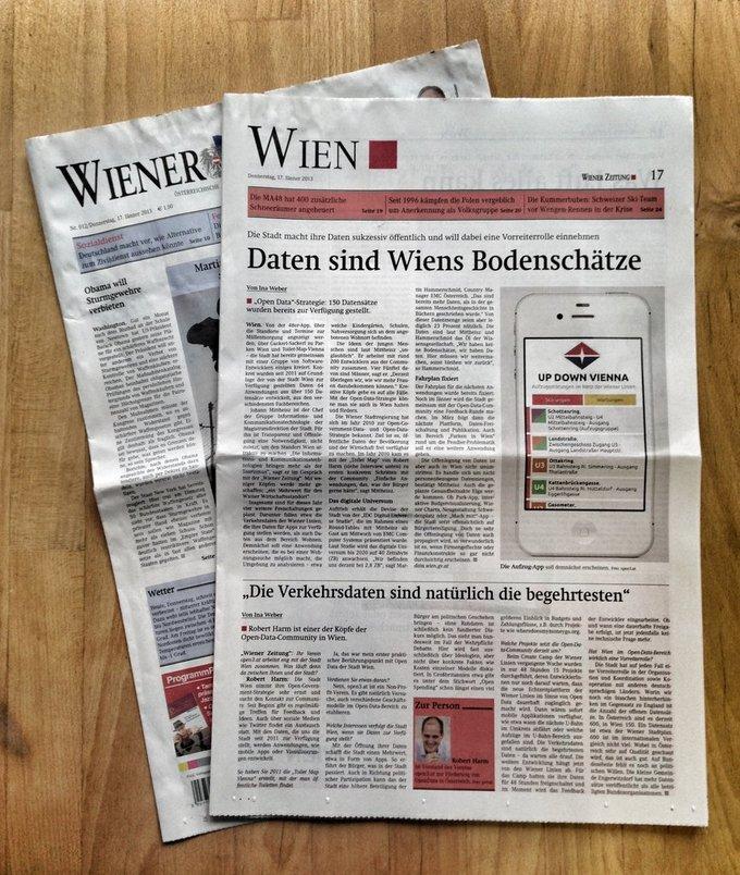 Foto von der Aufmacherseite des Wien Teils der Wiener Zeitung