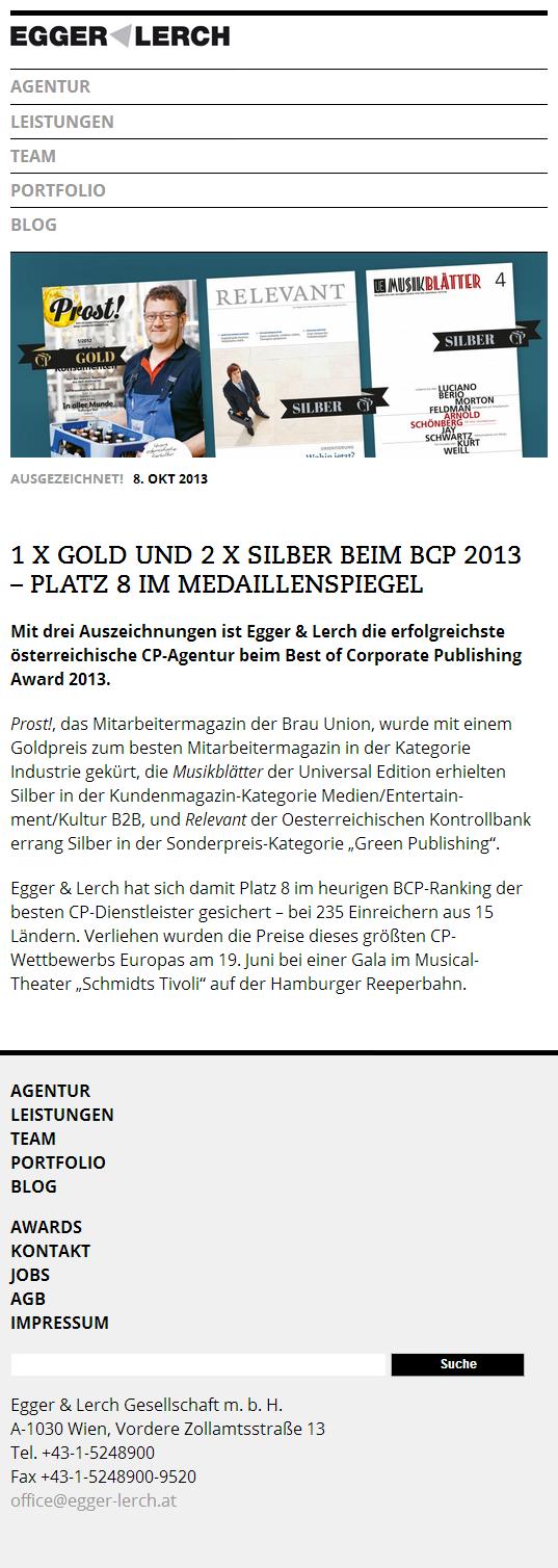 Egger & Lerch - Corporate Publishing - Mobile Screenshot Article Detail