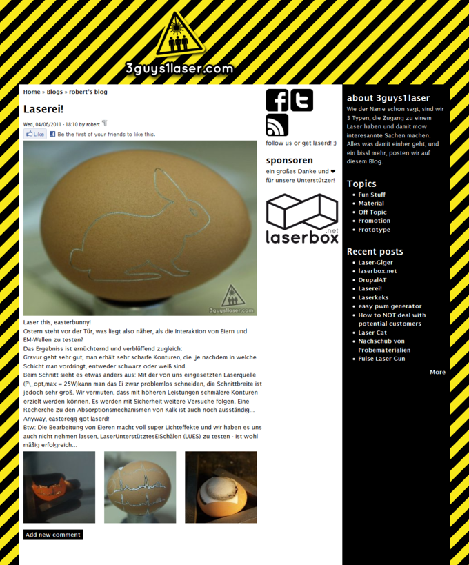 Screenshot 3guys1laser Website - Artikelansicht