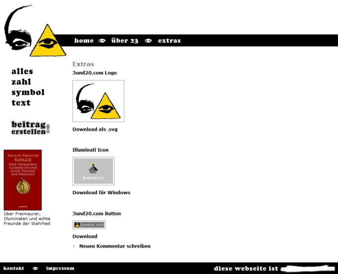 Screenshot 3und20 Website - Extras