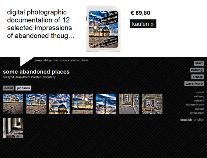 screenshot acolono website - Some abandoned places