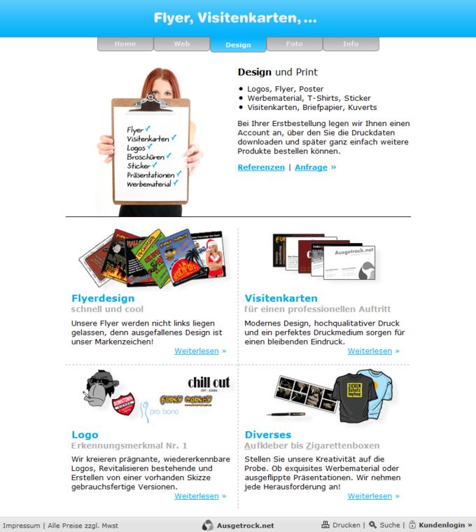 Screenshot Ausgetrock.net Design