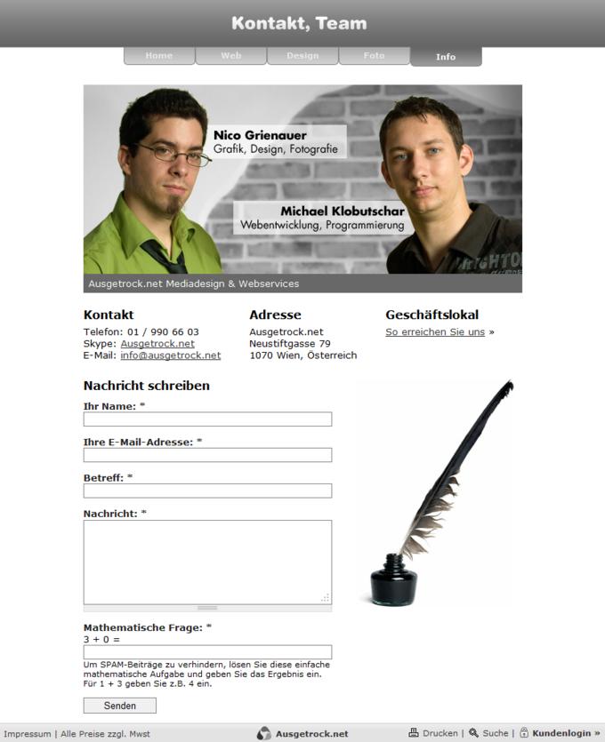 Screenshot Ausgetrock.net Kontakt