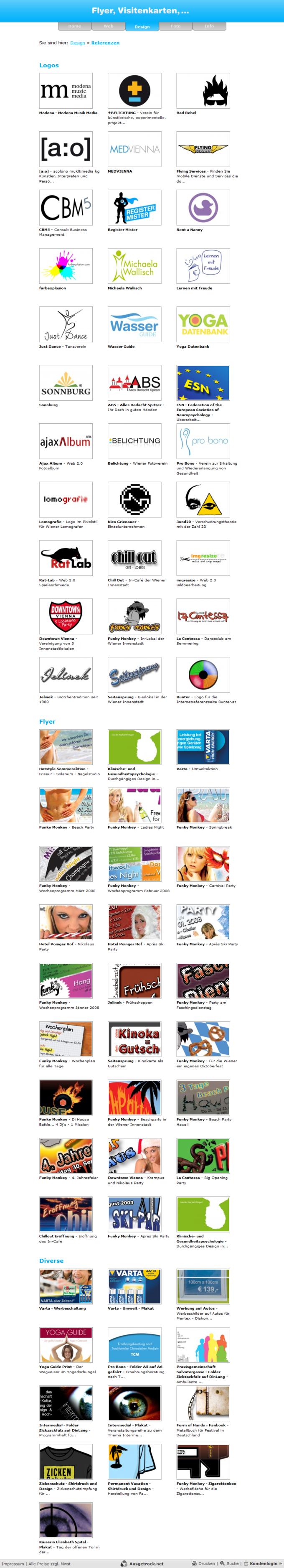 Screenshot Ausgetrock.net Referenzen Design