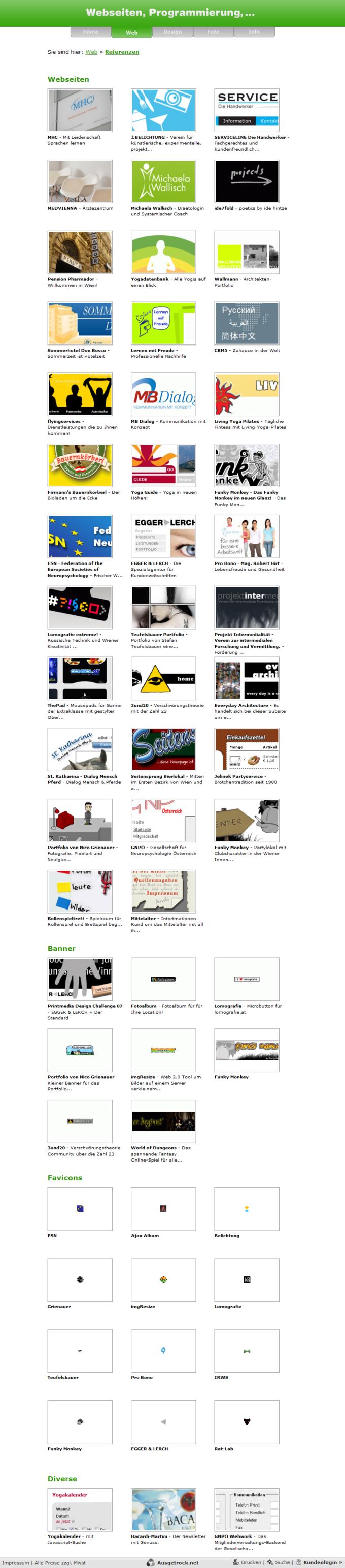 Screenshot Ausgetrock.net Referenzen Web