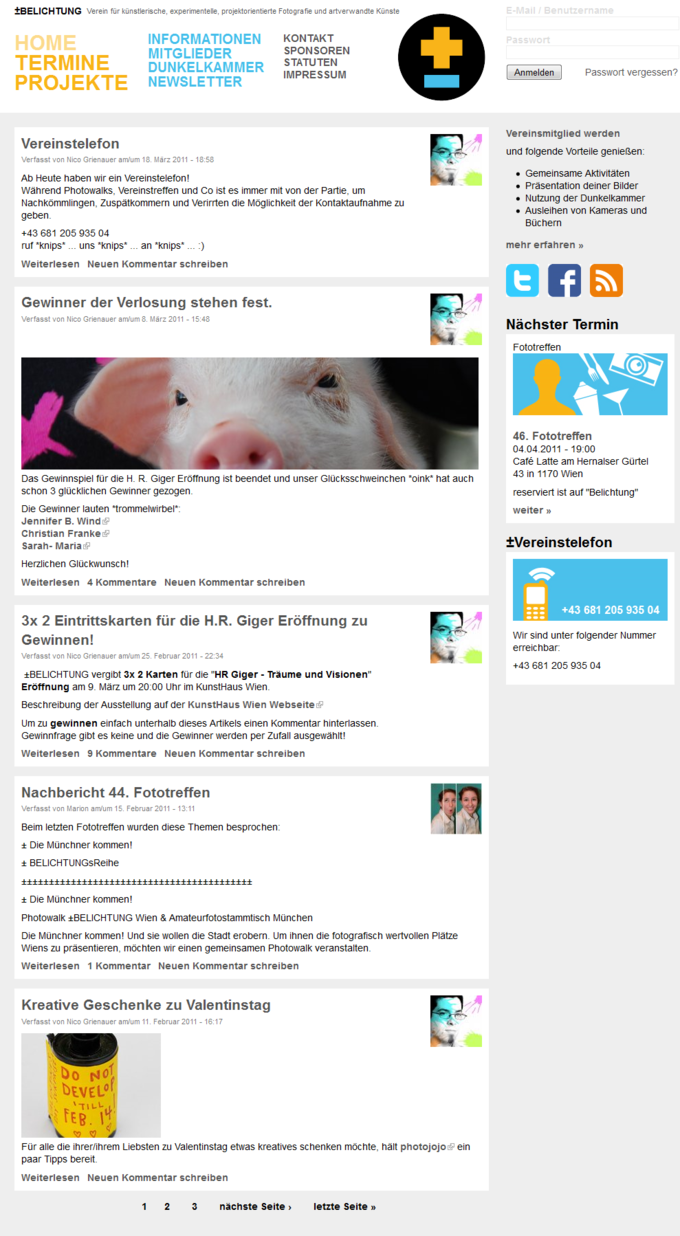 Screenshot Belichtung Website - Blog