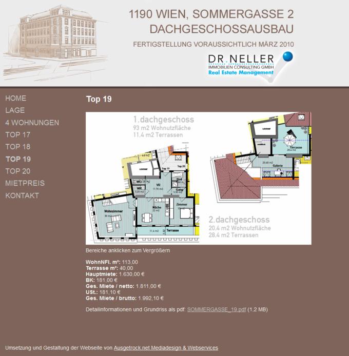 Screenshot Dachgeschossausbau Sommergasse Webseite - Raumplan
