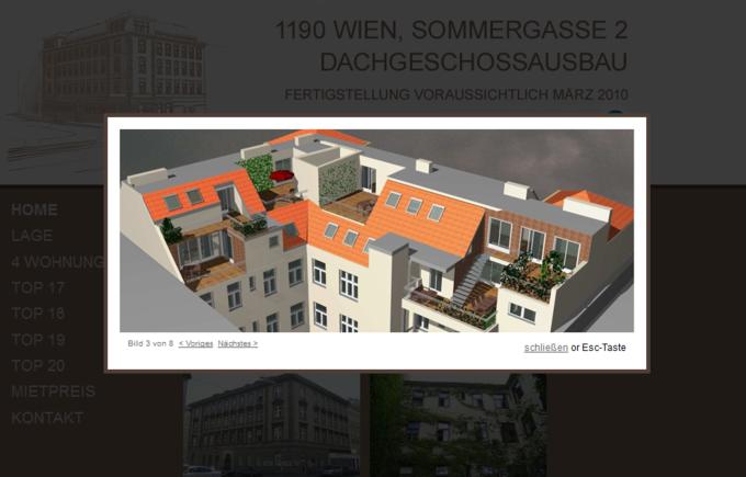 Screenshot Dachgeschossausbau Sommergasse Webseite - Foto