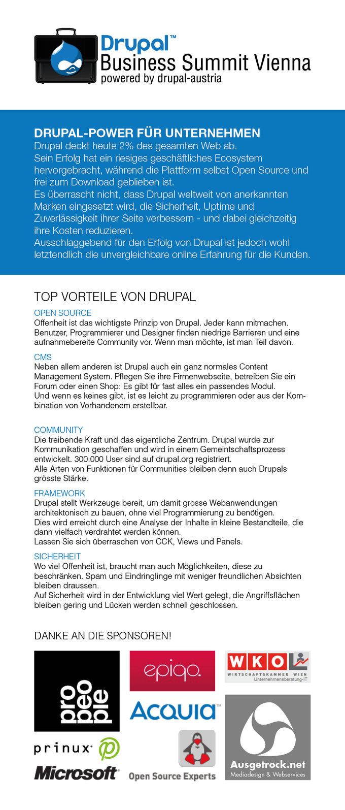 Drupal Business Summit Vienna Flyer Front