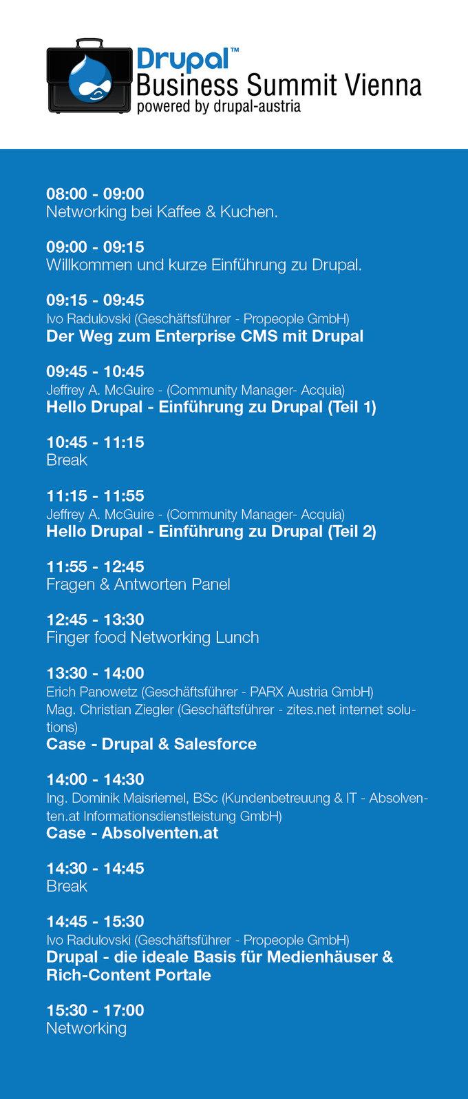 Drupal Business Summit Vienna Flyer Back