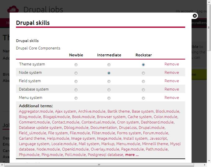 Screenshot Drupal Jobs - edit skills