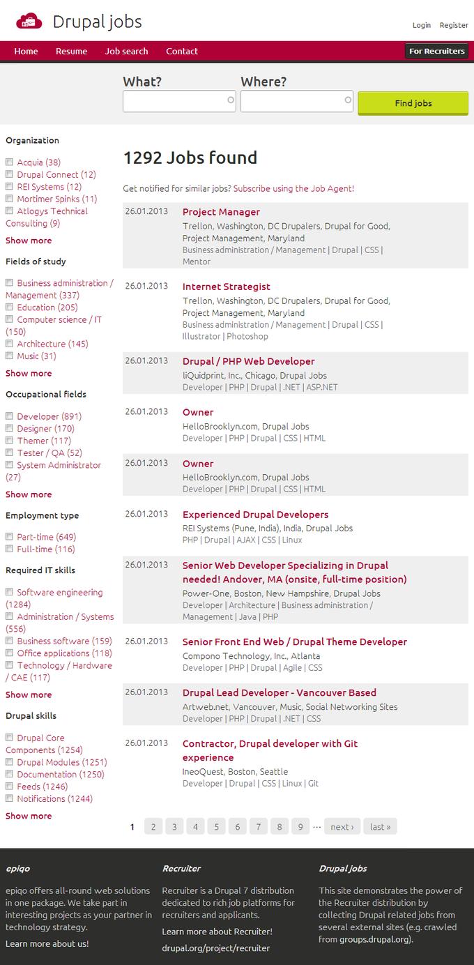 Screenshot Drupal Jobs - Search Jobs Overview