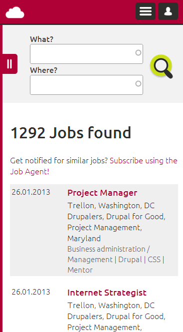 Screenshot Drupal Jobs - Search Jobs on SMARTPHONE
