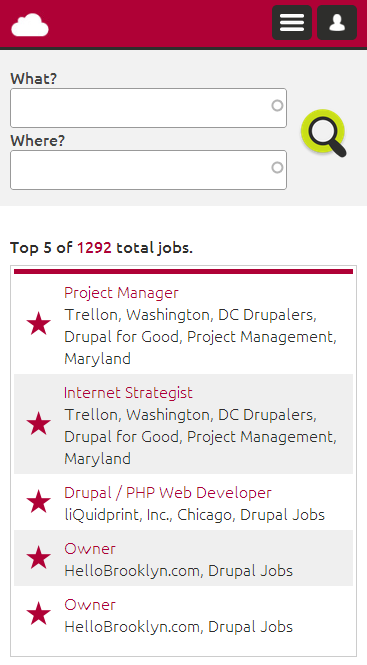 Screenshot Drupal Jobs - Frontpage View on SMARTPHONE