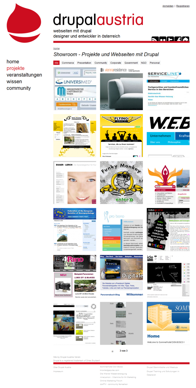 Drupal Austria Website Screenshot Showroom