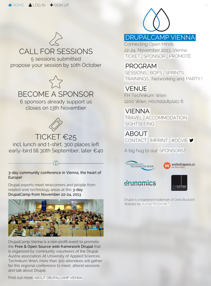 Drupalcamp Vienna 2013 - Connecting Open Minds - Screenshot Frontpage