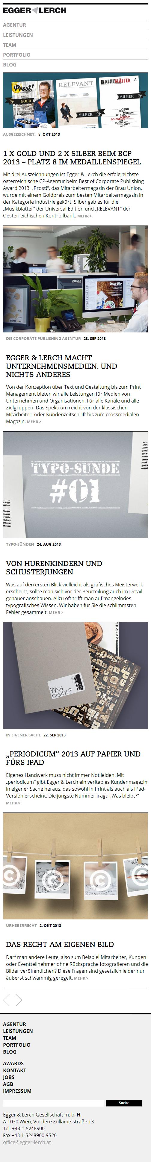Egger & Lerch - Corporate Publishing - Mobile Website Screenshot