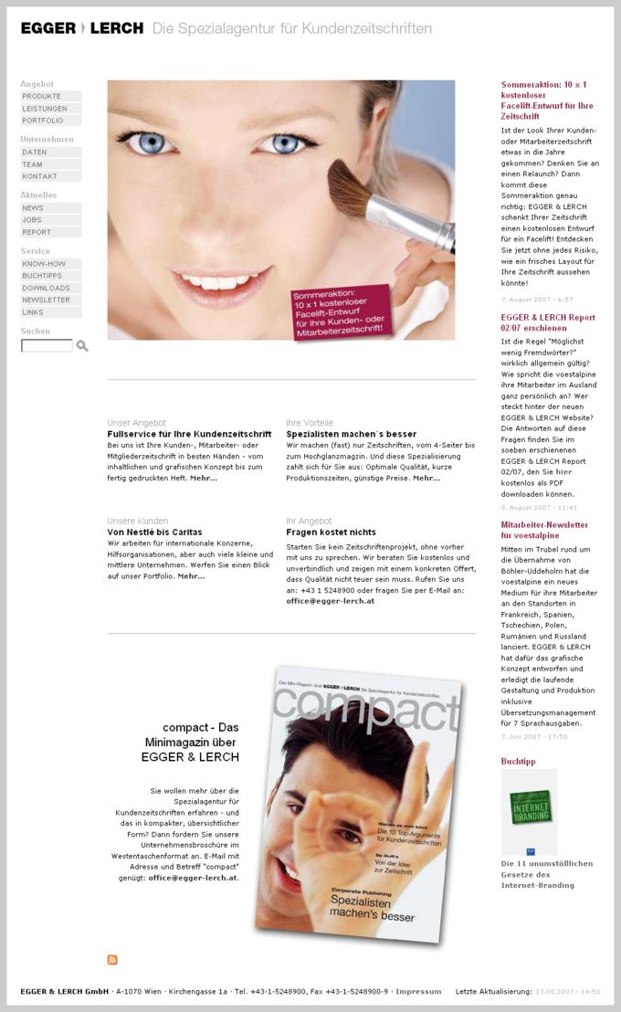 Screenshot Egger Lerch Website Frontpage