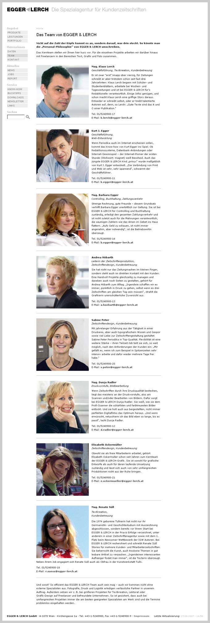 Screenshot Egger Lerch Website Team