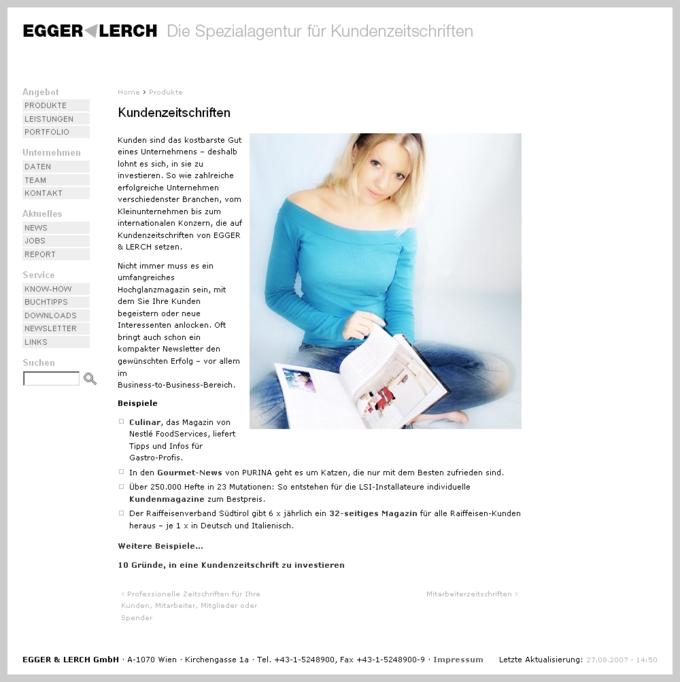 Screenshot Egger Lerch Website Kundenzeitschriften