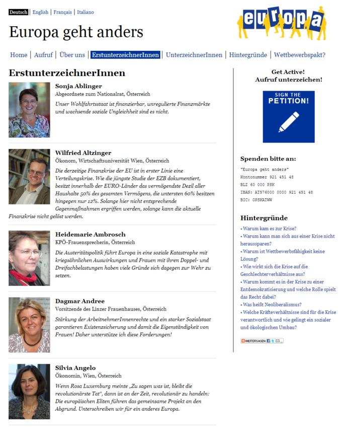 Europa geht anders! - Screenshot - Erstunterzeichner Seite