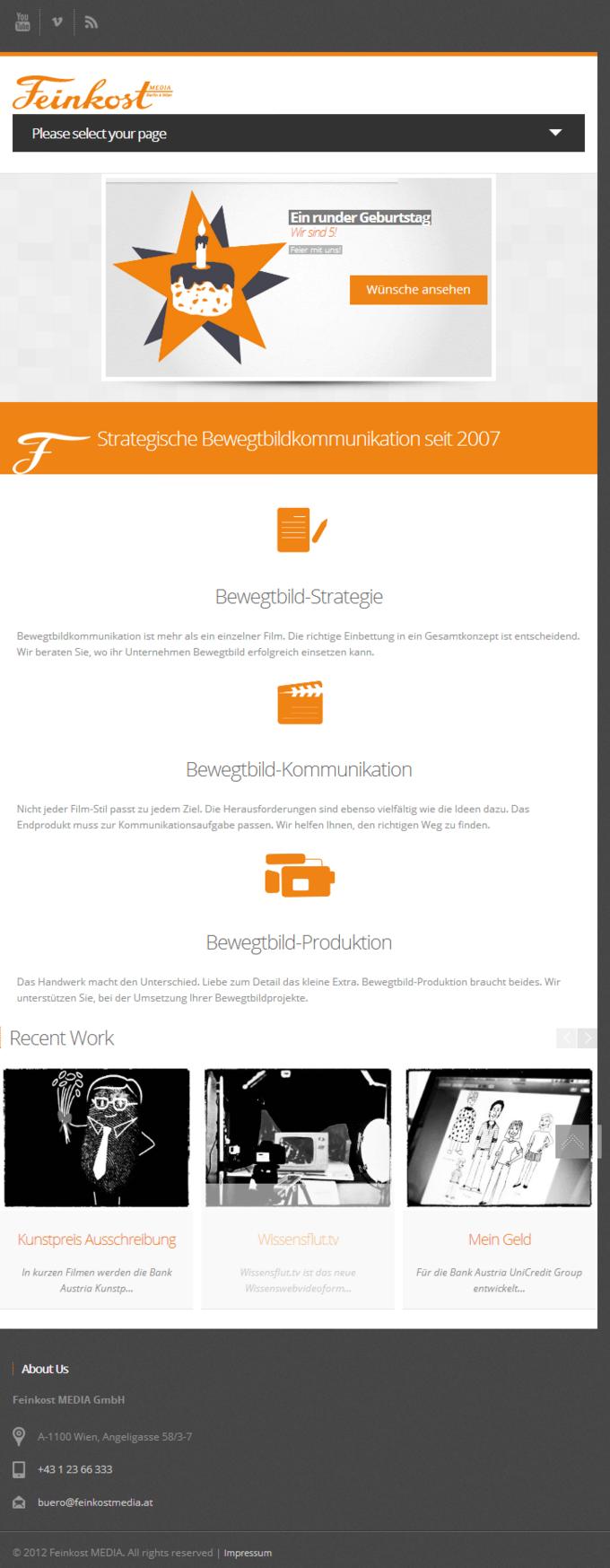 FeinkostMEDIA Website Screenshot - Mobile Site