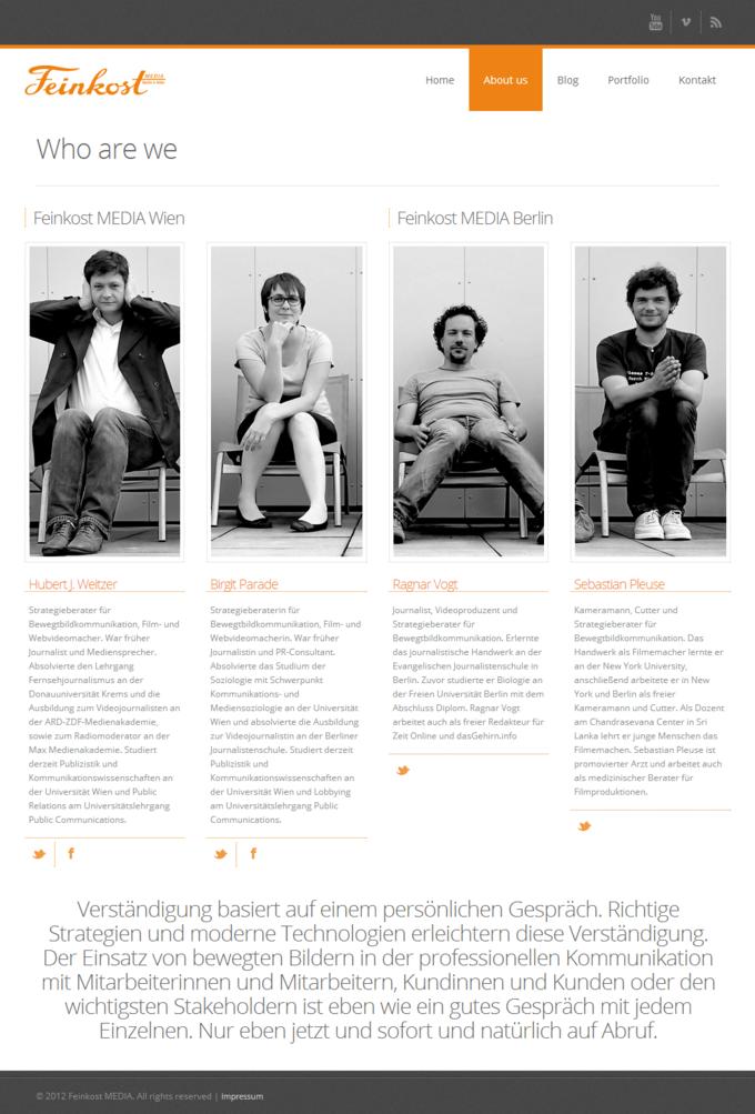 FeinkostMEDIA Website Screenshot - About Site