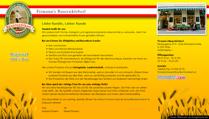Screenshot Firmann's Bauernkörberl Website Frontpage