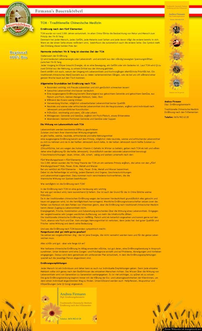 Screenshot Firmann's Bauernkörberl Website TCM Information