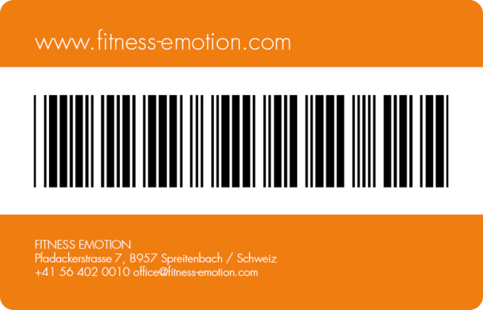 Fitness Emotion Member Card Rüchseite Orange