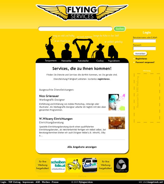 Screenshot Flying Services Website - Frontpage