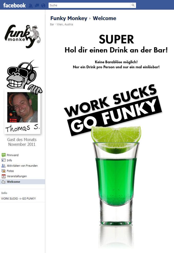 Facebook Funky Monkey Fanpage Gratis Getränk Screenshot
