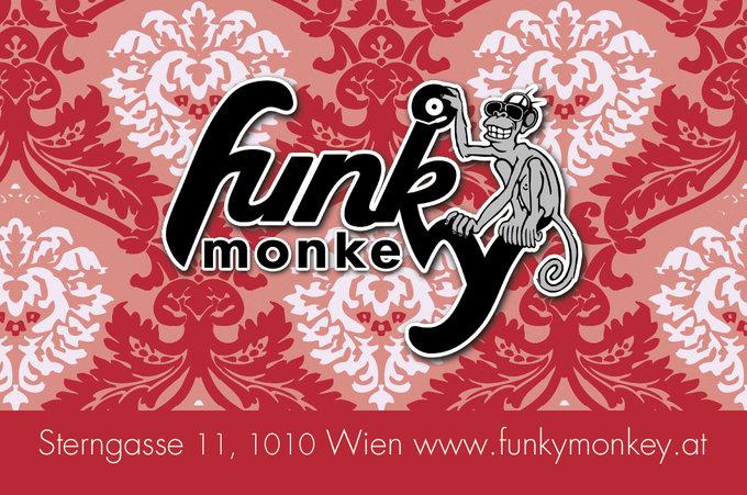 Visitenkarte Funky Monkey Geschäftsführung Rückseite Rot