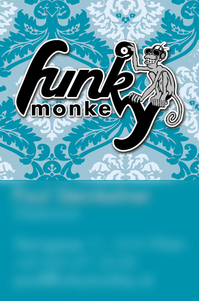 Visitenkarte Funky Monkey Geschäftsführung Voderseite Blau