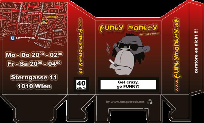 Funky Monkey Zigarettenschachtel Aufgefaltet Version 1