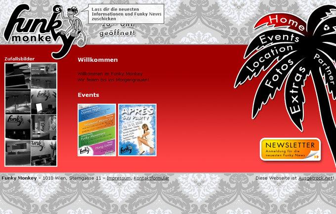 Screenshot Funky Monkey Website - Frontpage