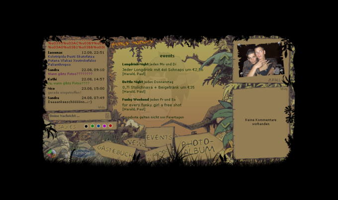 screenshot funky monkey website - home