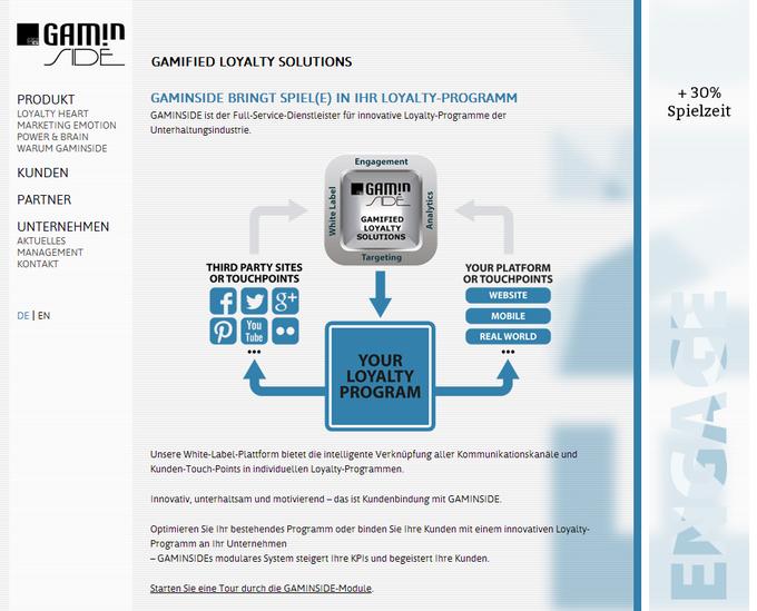 Screenshot Gaminside website 2012 - frontpage