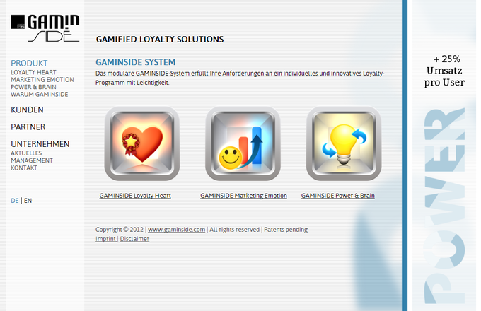 Screenshot Gaminside website 2012 - products